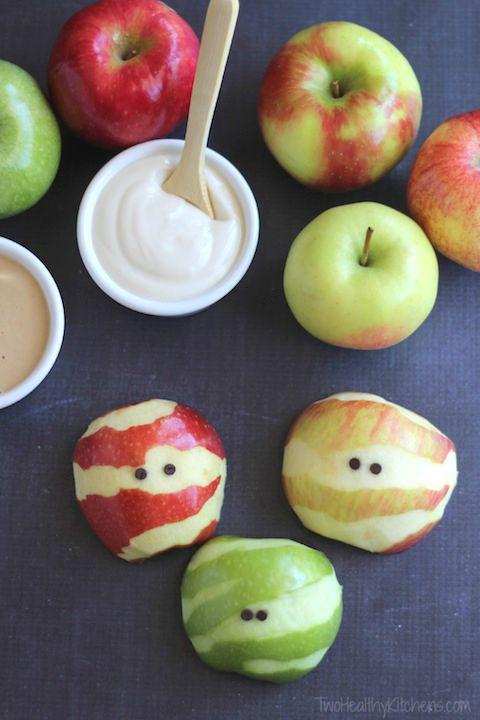 Recetas halloween brunch saludable-manzanas momias