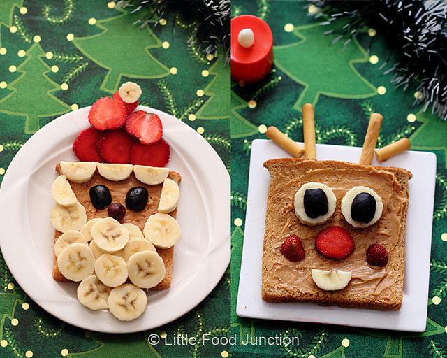 Tostadas cara papa Noël y reno - Recetas brunch navideño