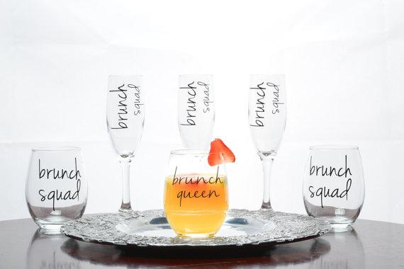 Vasos escuadrón de la reina del brunch - regalos brunch lovers