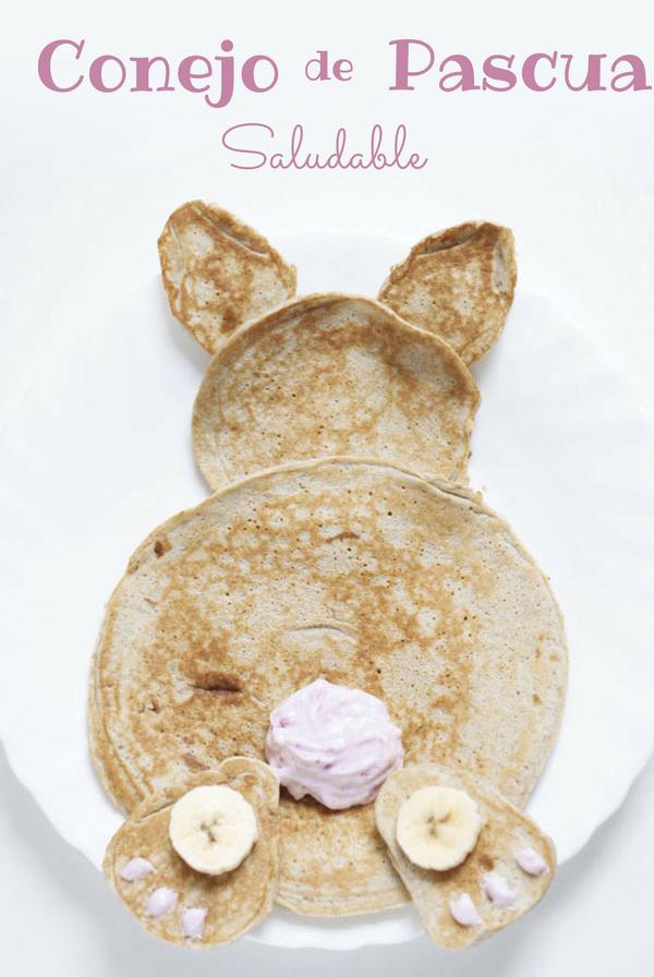 Conejo de Pascua con pancakes - Receta de brunch saludable
